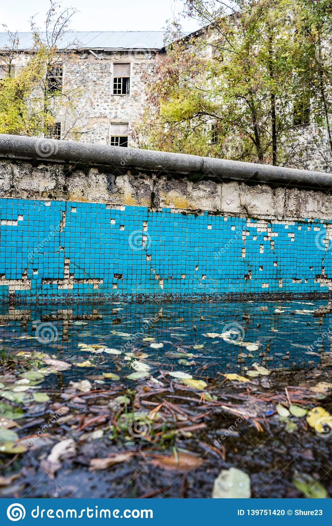 Swimming Pool Area Of Berengaria Abandoned Hotel In Mountain Region Of Trodos Cyprus Stock Photo Image Of Building Exterior 139751420