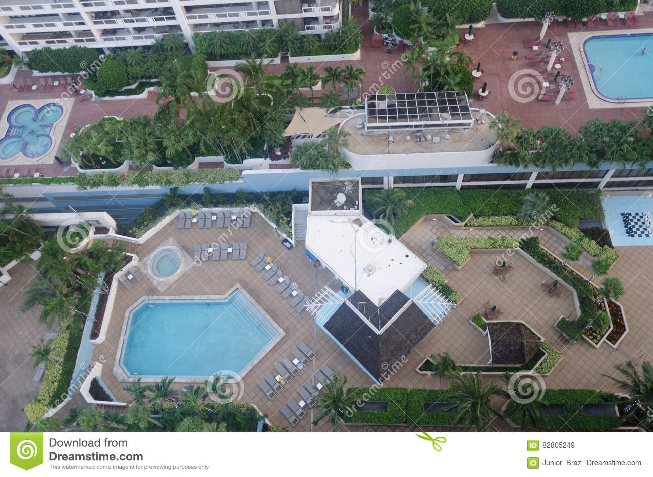 Swimming pool area in a hotel Miami city downtown