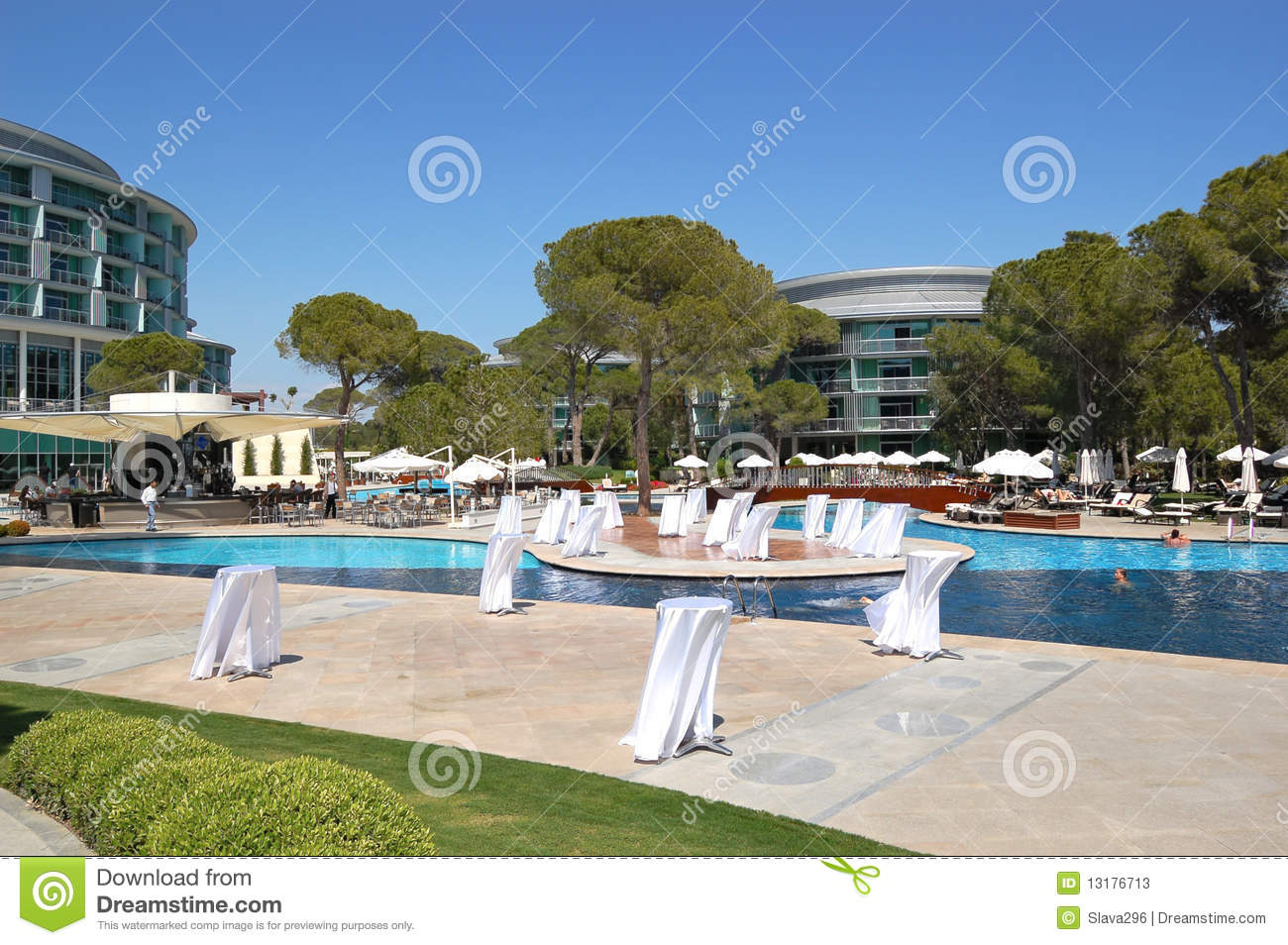 Swimming pool area at luxury turkish hotel stock image for Luxury pool area