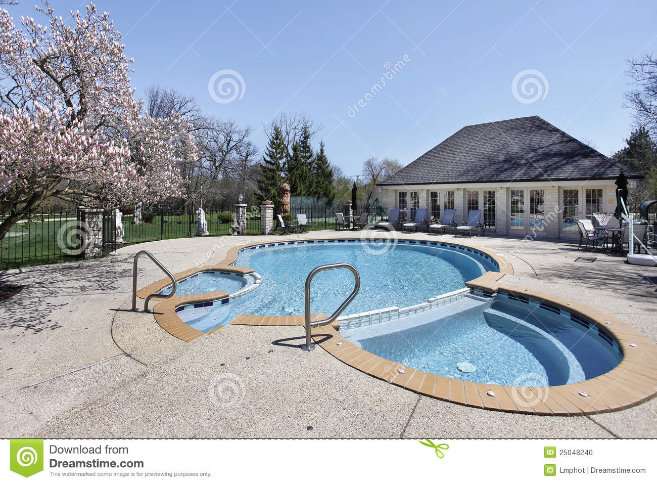 Attached Swimming Pool : Swimming pool with attached sauna stock photo image
