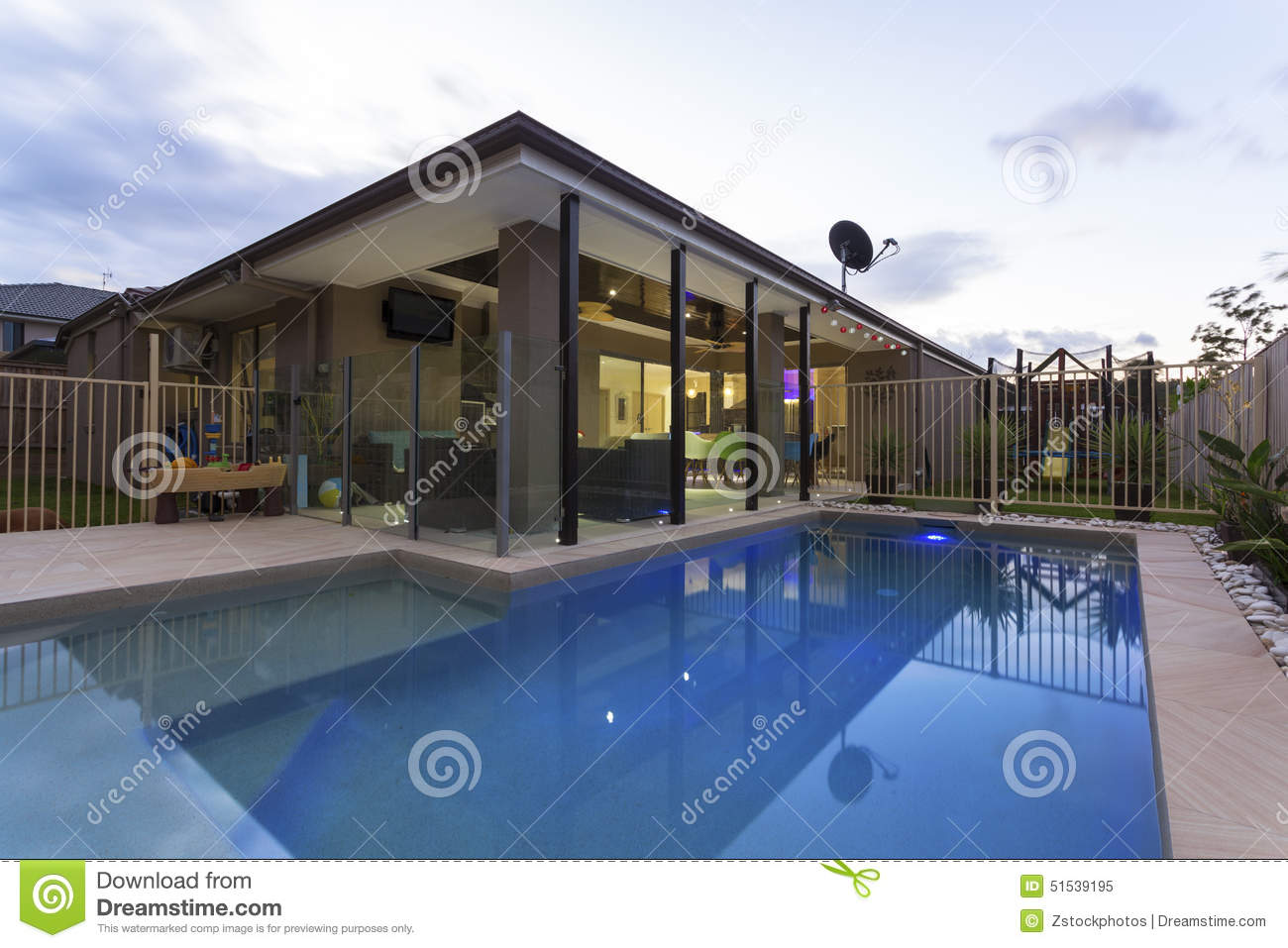 Swimming pool in backyard stock photo image 51539195 for Swimming pool entertaining areas