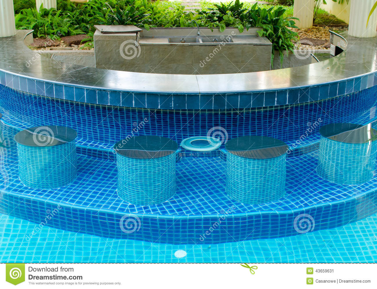Swimming pool with bar stock photo image 43659631 for Blue water parts piscine