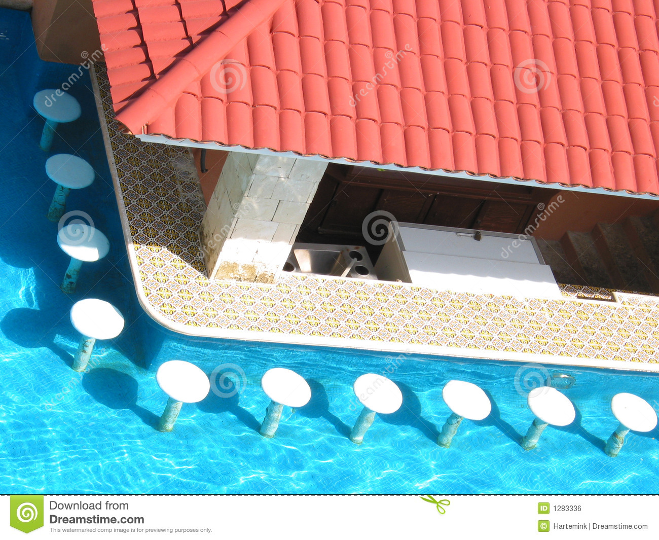 Swimming Pool With Bar Stools Stock Photo - Image of white ...