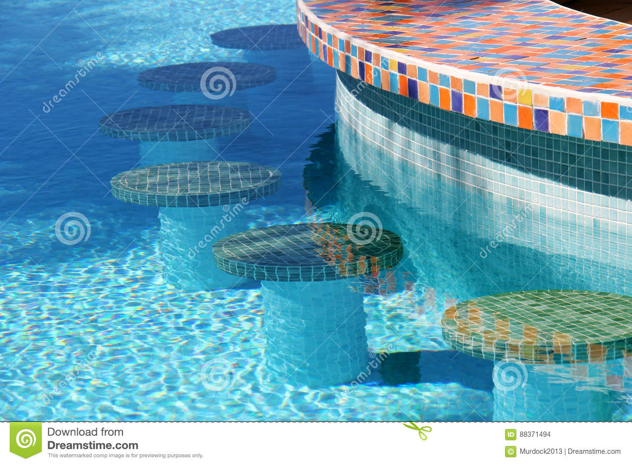 Swimming pool bar stools stock photo. Image of seat, table ...