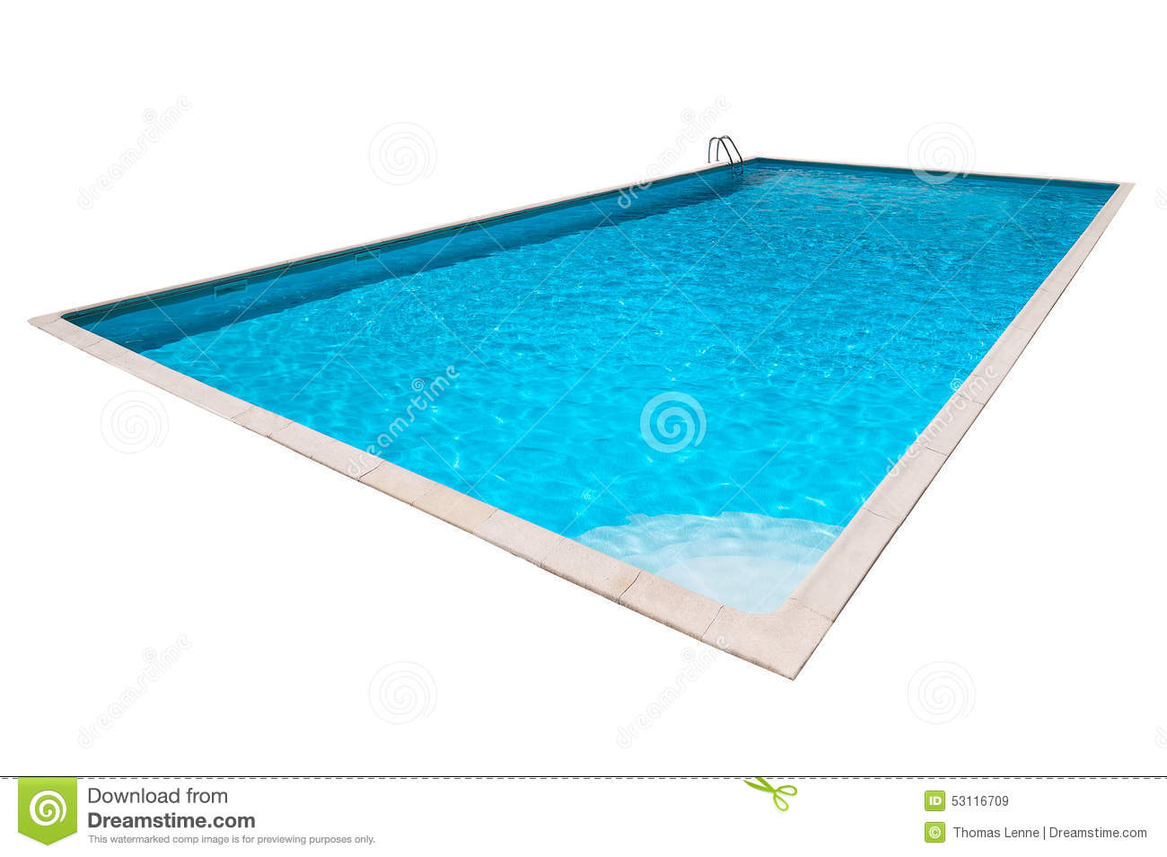 Swimming pool with blue water isolated stock photo image for Blue water parts piscine