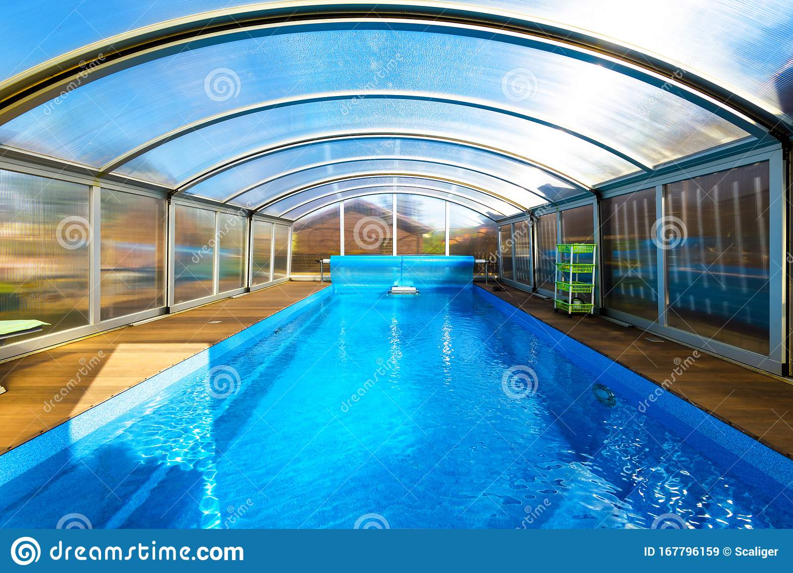 Swimming Pool With Blue Water And Transparent Plastic Tent Modern Pool Design With Collapsible Wall And Ceiling Stock Image Image Of Ceiling Glass 167796159