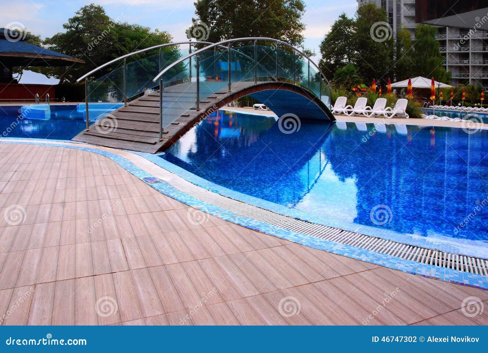 Swimming Pool With Bridge Stock Photo