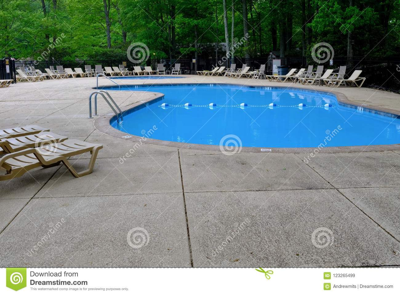 Outdoor Natural Gas Fire Pit Table, Pool Deck And Lounge Chairs In Green Forest Stock Image Image Of Surrounded Closed 123265499