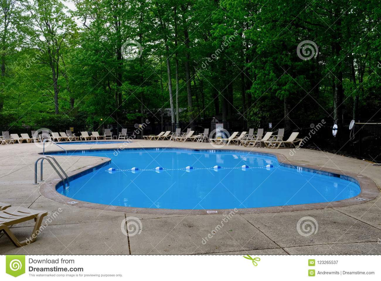 Outdoor Natural Gas Fire Pit Table, Pool Deck And Lounge Chairs In Green Forest Stock Image Image Of Blue Water 123265537