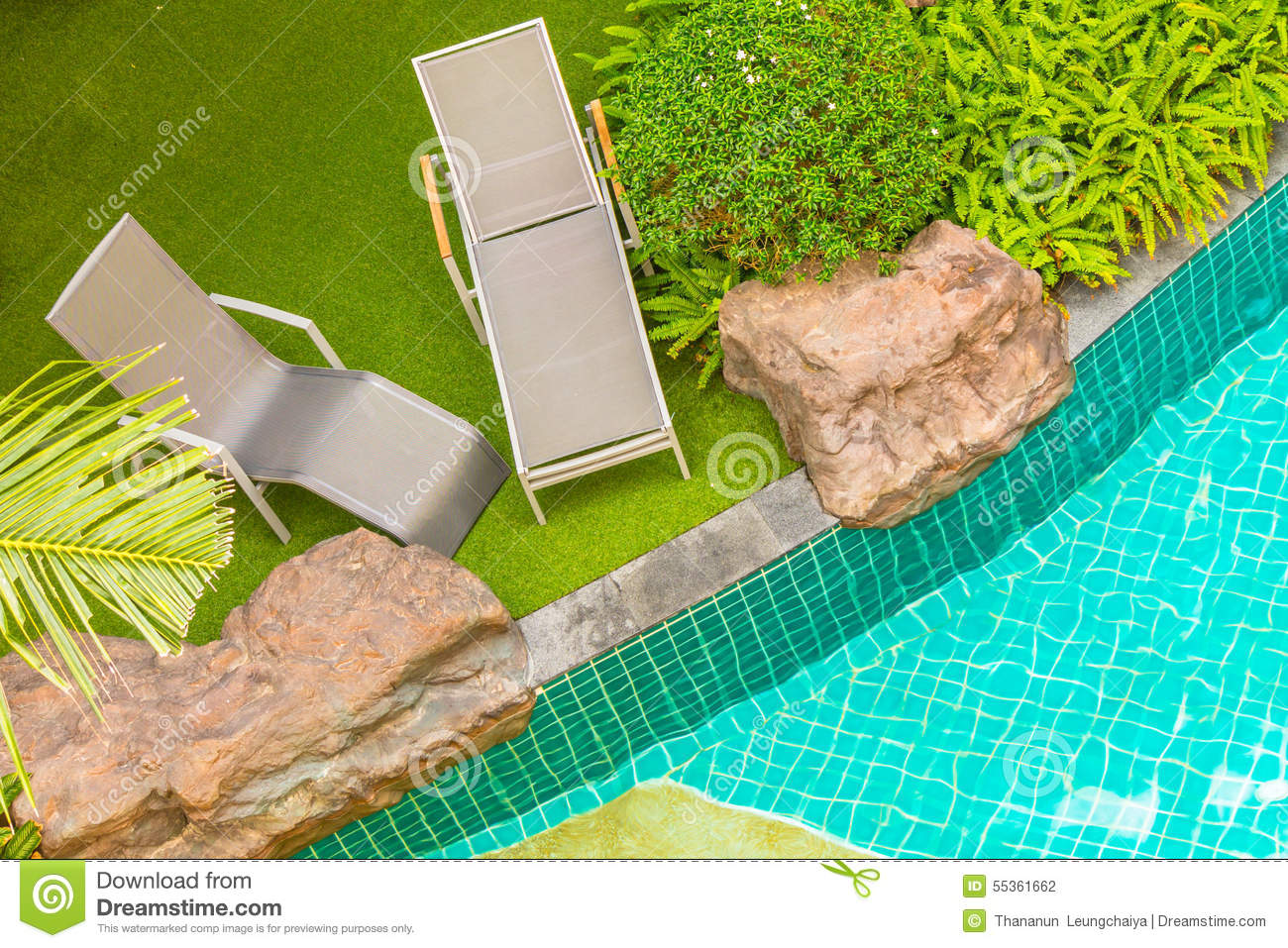 Pool chair top view - Swimming Pool Chair Stock Photo