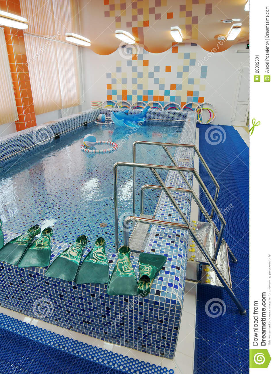 Swimming pool in a children garden stock image image for Kids swimming pool garden