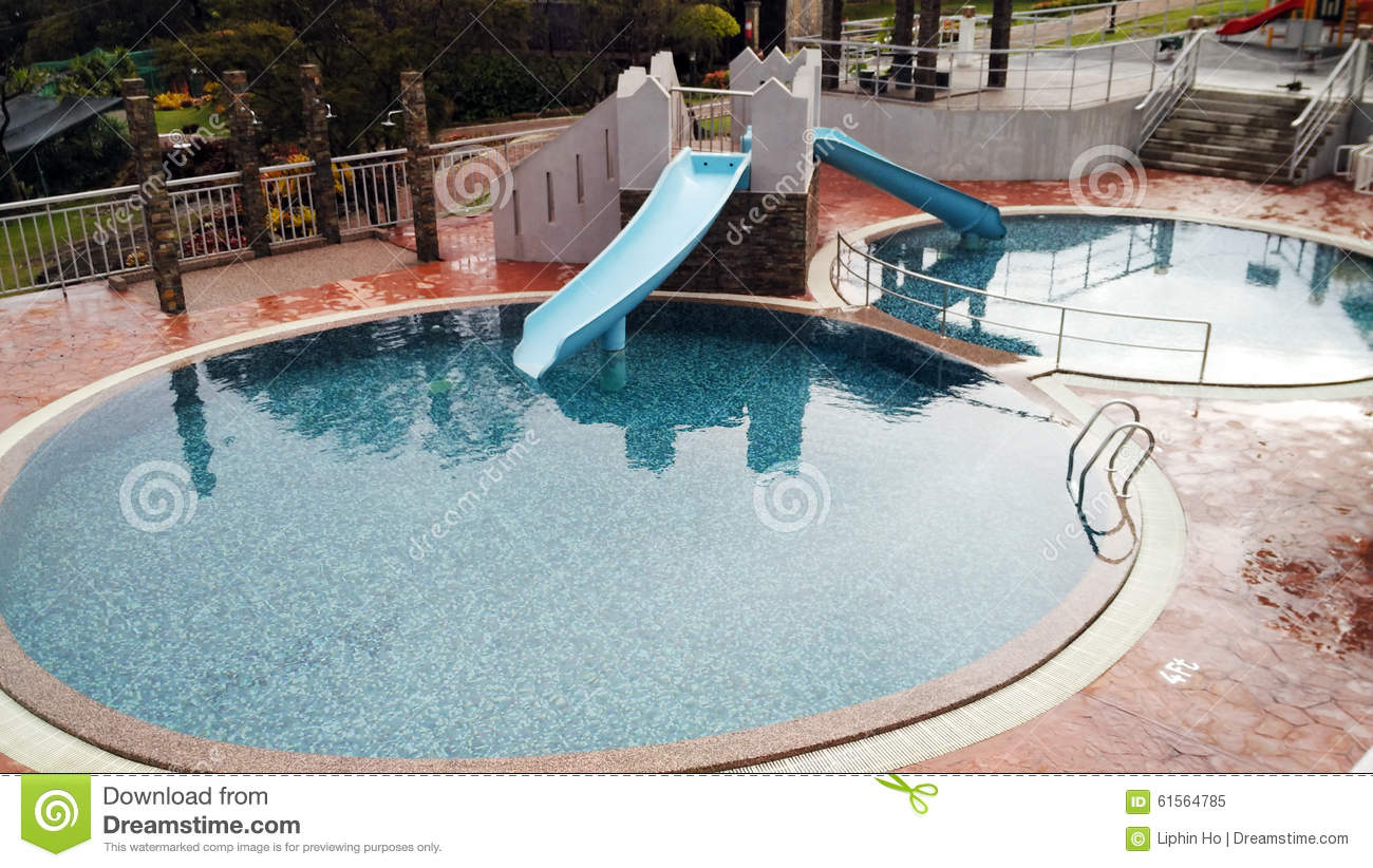 Swimming Pool For Children With Playground Stock Photo