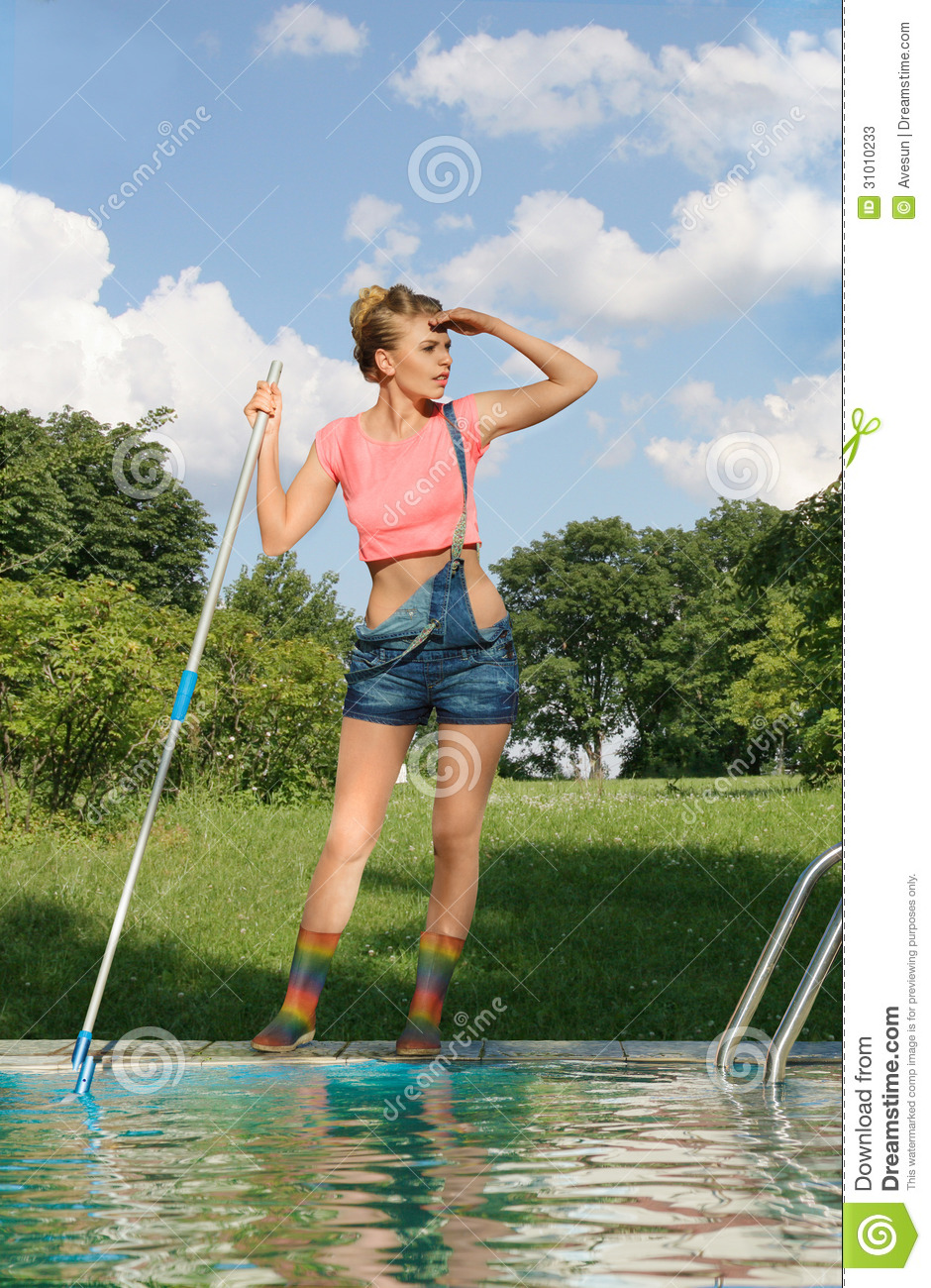 Swimming Pool Cleaner Work Stock Image
