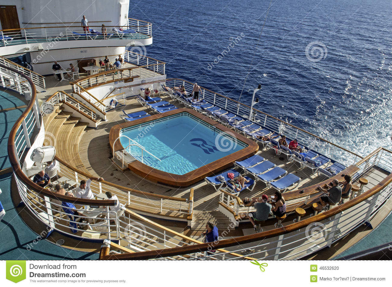 swimming pool on the cruise ship deck editorial image