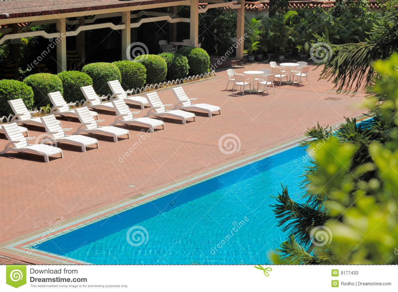 Swimming Pool And Deck Chairs Stock Photos Image 9177433