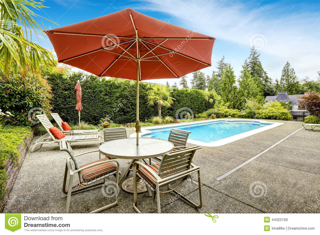Swimming Pool With Deck Chairs Stock Image Image 44325109