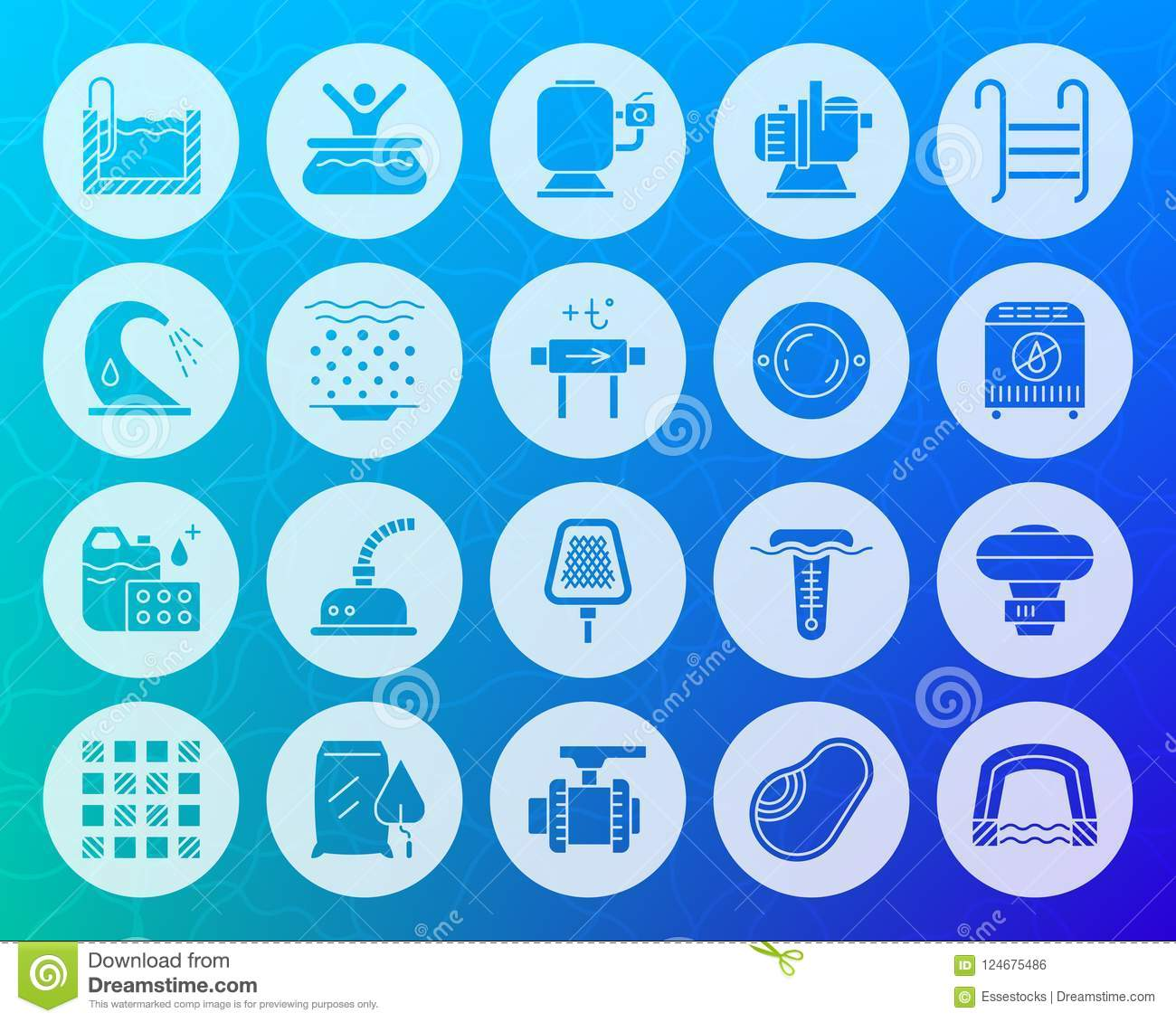 Pool Equipment Shape Carved Flat Icons Vector Set Stock Vector
