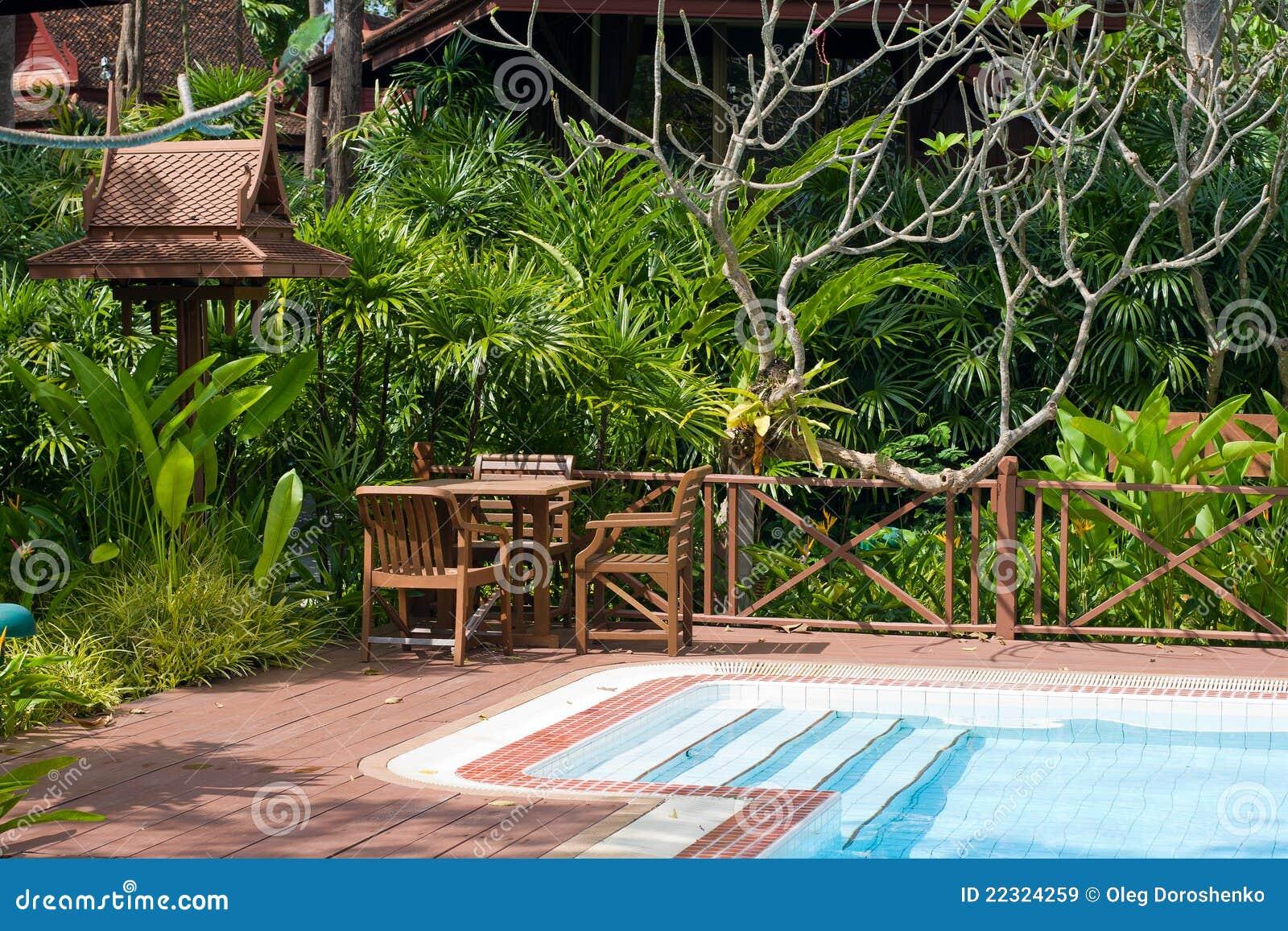 Swimming pool in garden royalty free stock images image for Swimming pools for your garden