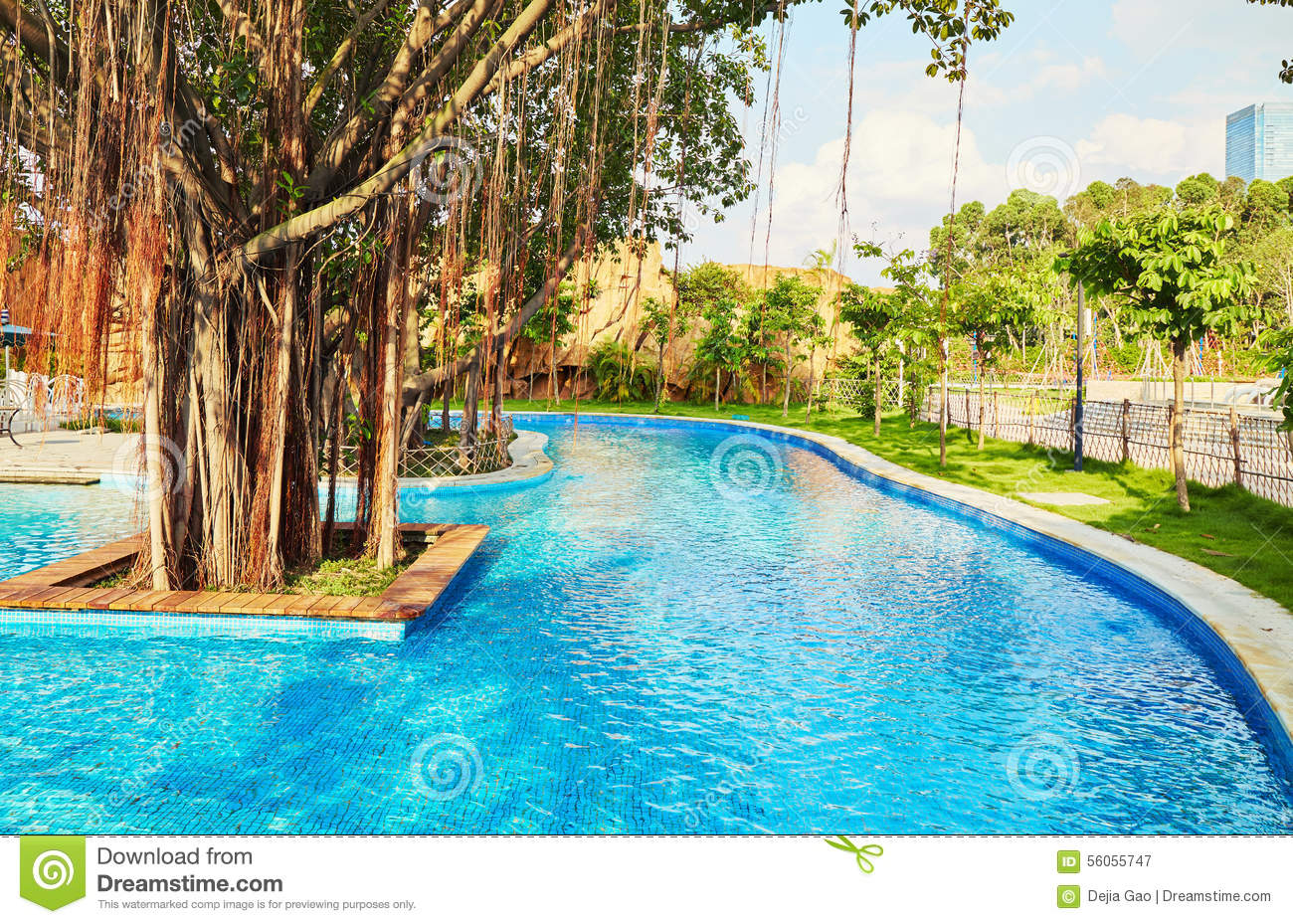 Resort swimming pool stock photo image 56055747 for Big swimming pools for gardens