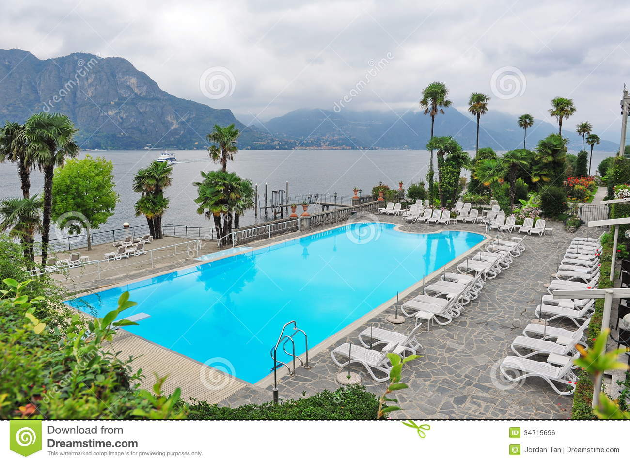 Swimming Pool Of A Grand Hotel Facing Lake Como In Italy Stock Photo Image Of Scenic View