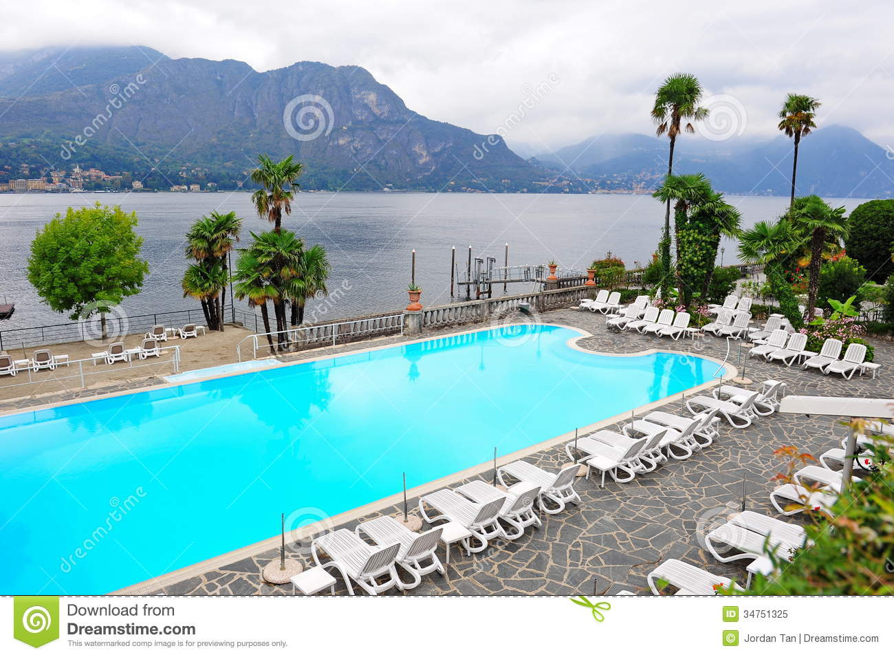 Swimming Pool Of A Grand Hotel Beside Lake Como Stock Image Image 34751325