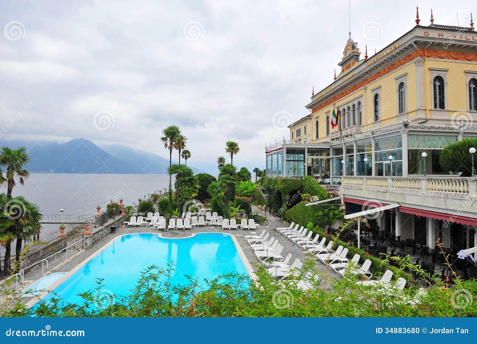 Swimming Pool Of A Grand Hotel Beside Lake Como In Bellagio Stock Photo Image 34883680