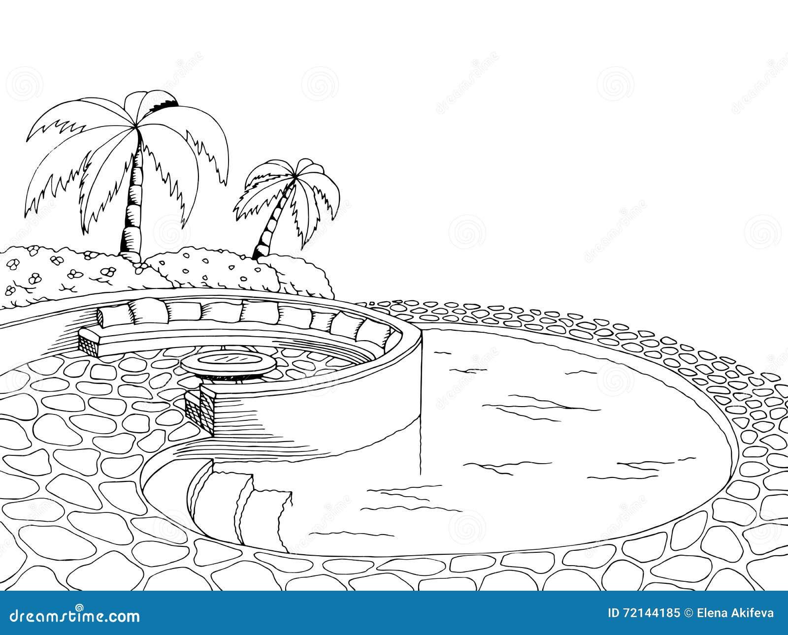 swimming pool graphic art black white illustration stock