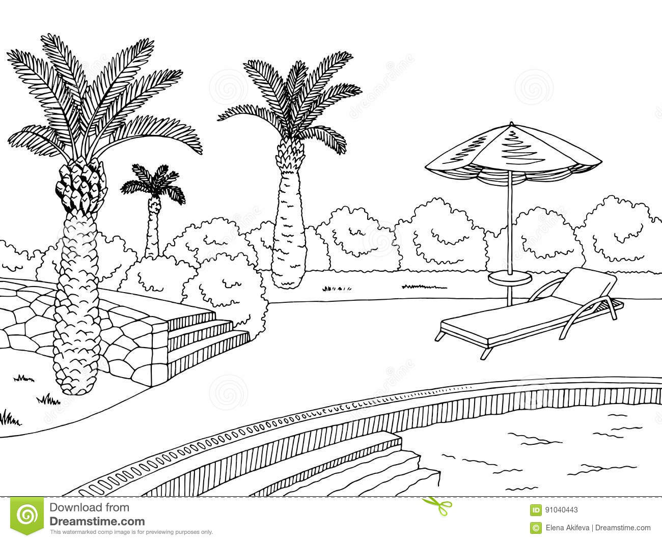 Swimming Pool Graphic Black White Landscape Sketch Illustration