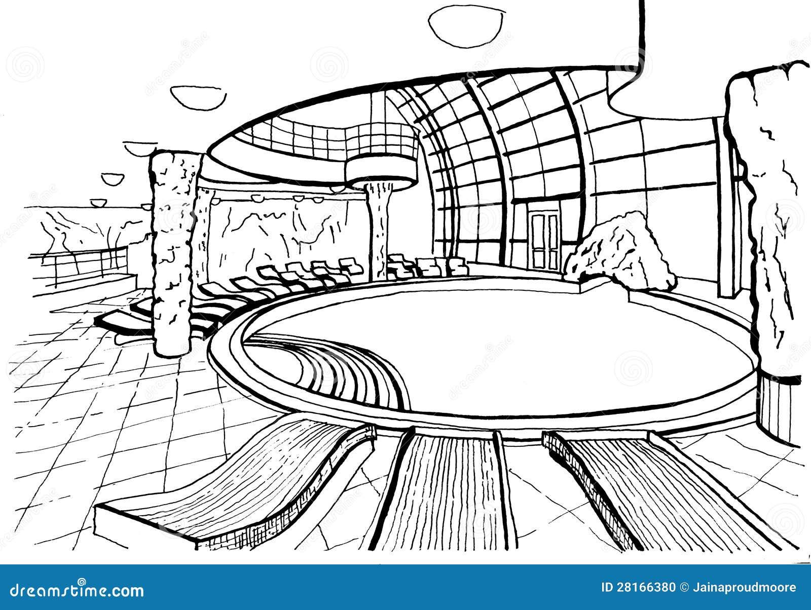 Swimming Pool Hand Drawing Inc Stock Photo Image 28166380