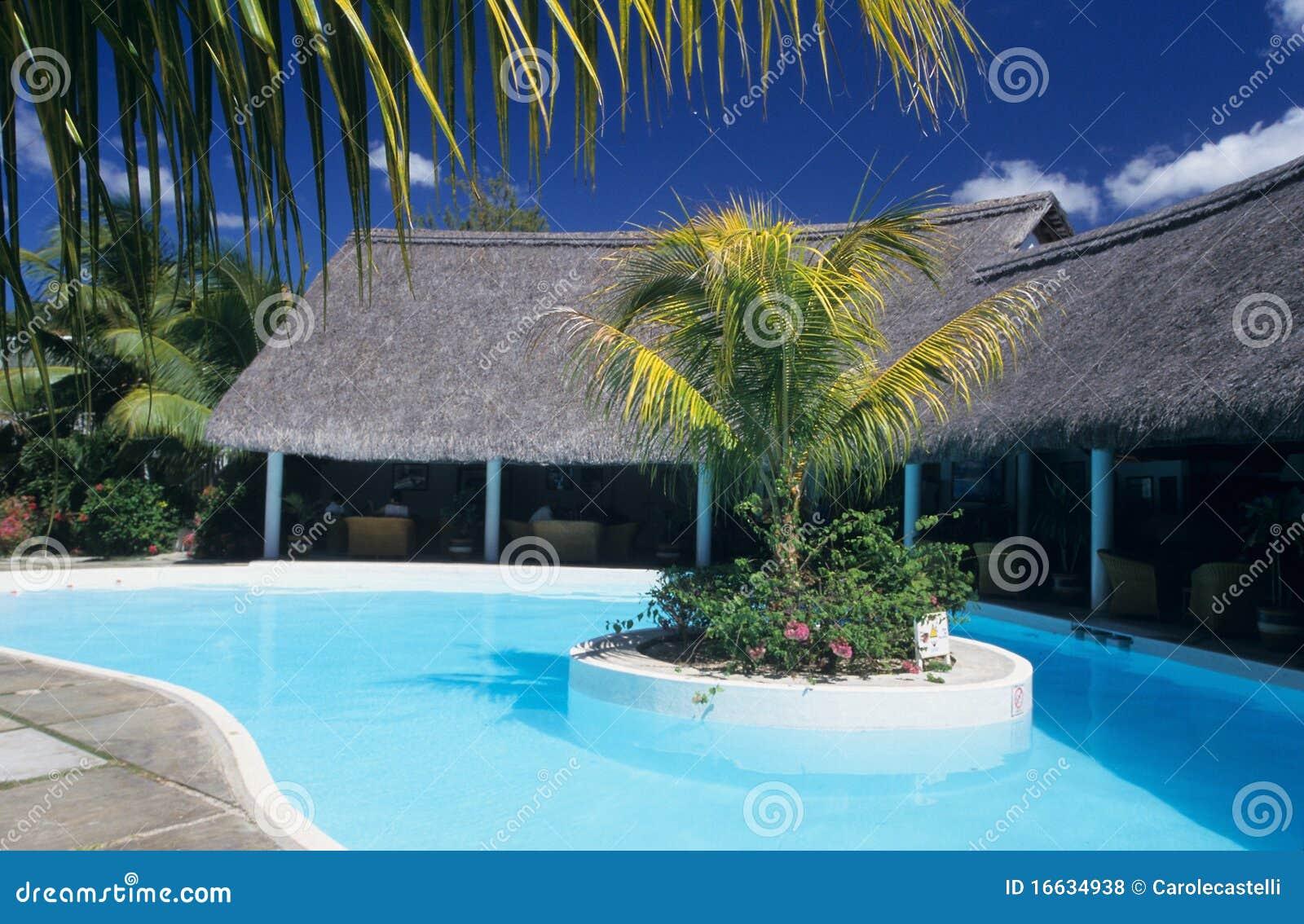 Swimming pool in hotel mauritius island royalty free stock for Swimming pool mauritius