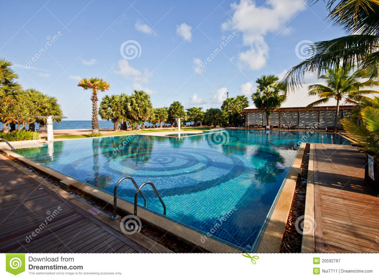 Swimming pool of a hotel near the pattaya beach stock for Swimming pool close to house