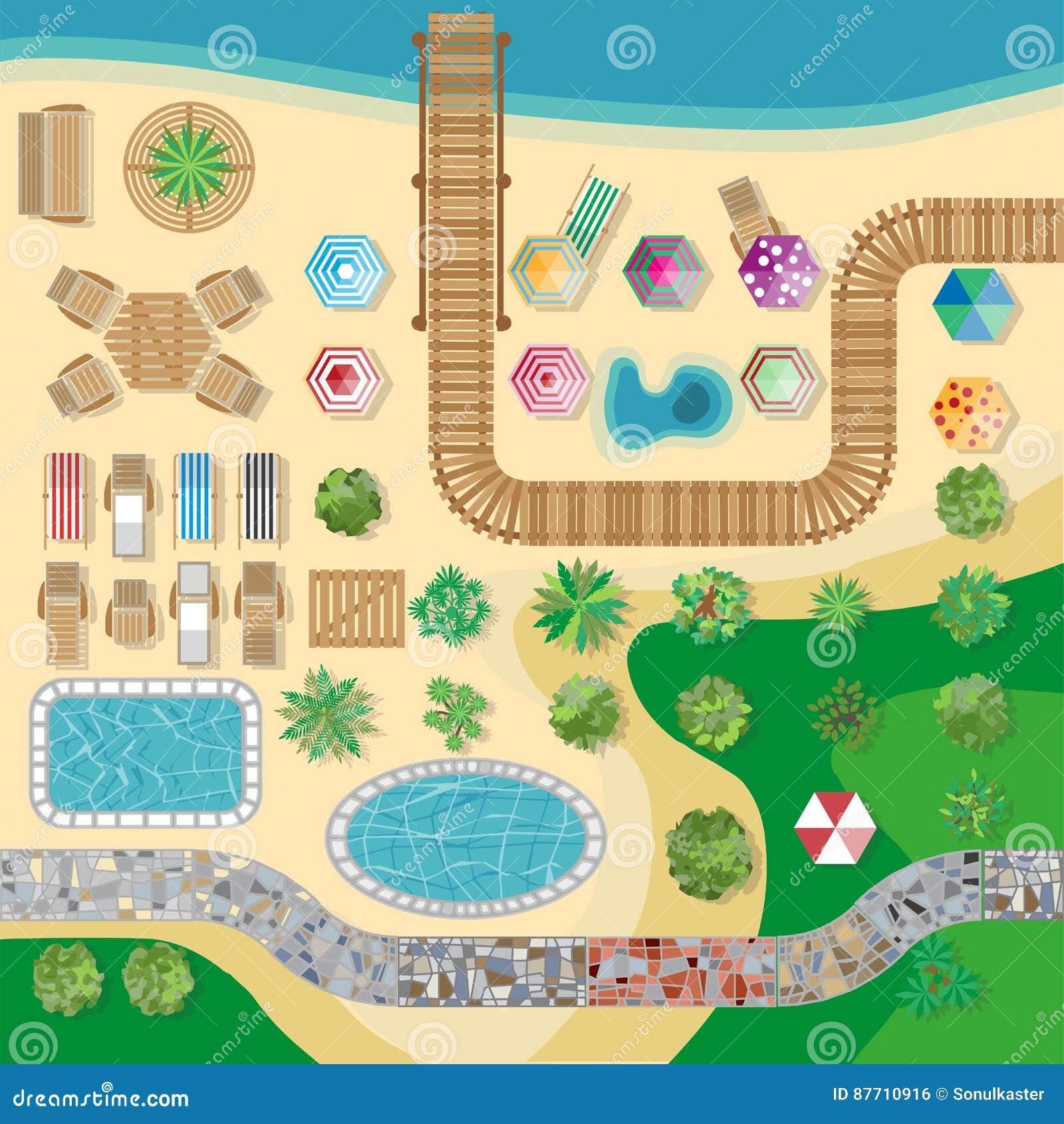 Swimming Pool Hotel Resort Vector Layout Template Stock Vector Illustration Of Resort Design 87710916