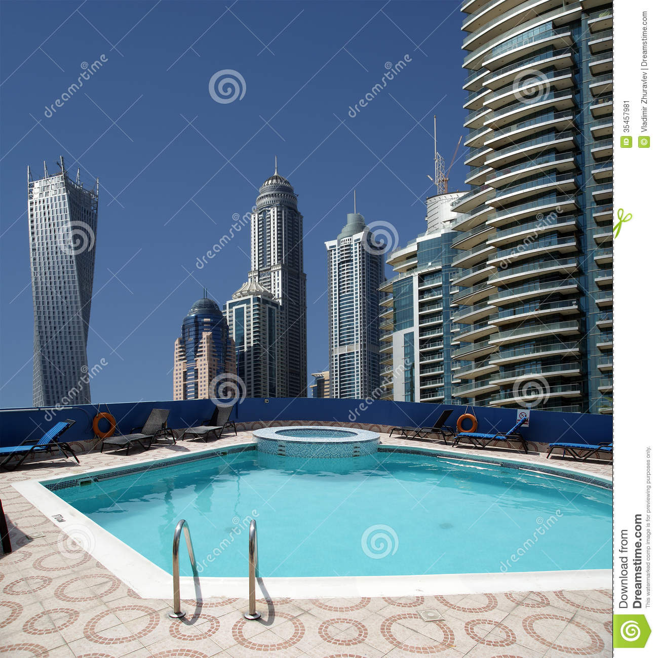 The Swimming Pool On The Hotel Roof Stock Image Image