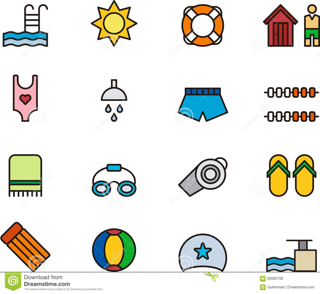 Swimming Pool Icons Or Symbols Stock Vector Illustration