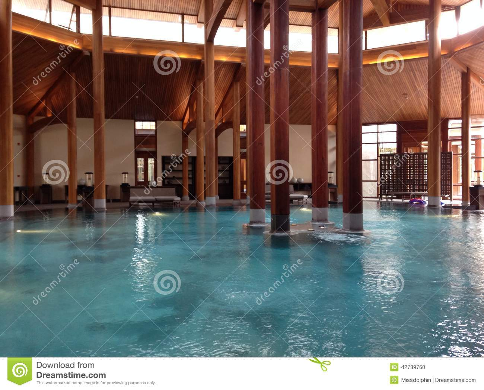Indoor Pillars swimming pool indoor with wood pillars stock photo - image: 42789760