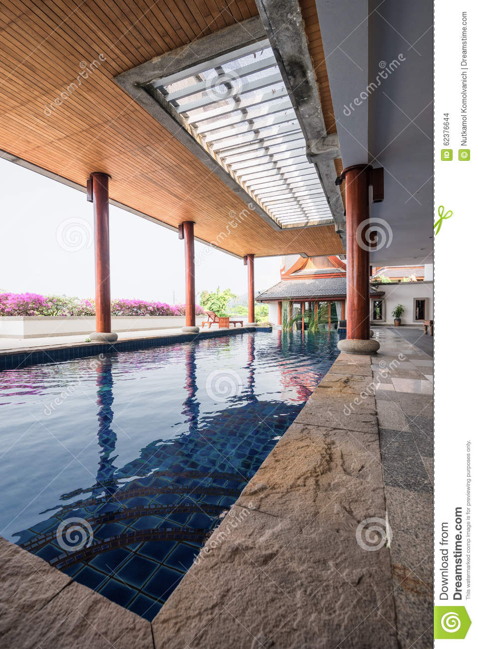 Swimming Pool Inside Thai Style House Stock Photo Image 62376644