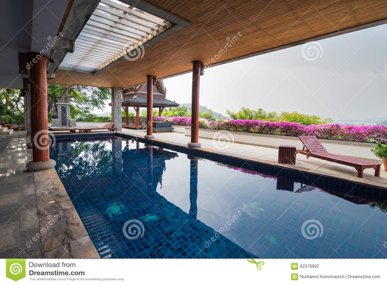 Swimming Pool Inside Thai Style House Stock Photo Image