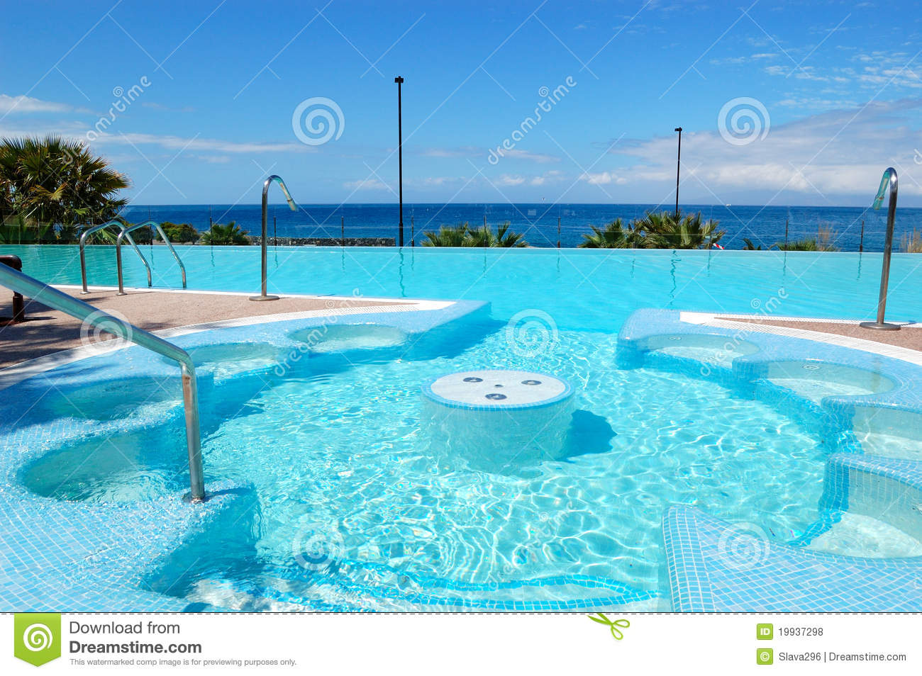 Swimming pool with jacuzzi at luxury hotel stock photo for Pool time pools
