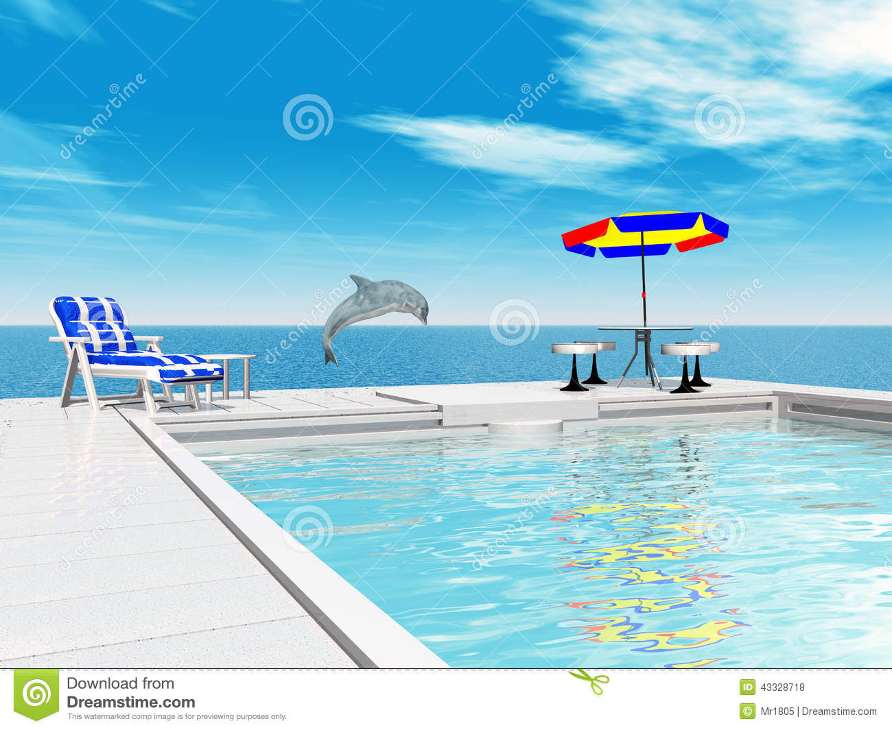 Swimming Pool And Jumping Dolphin Stock Illustration Image 43328718