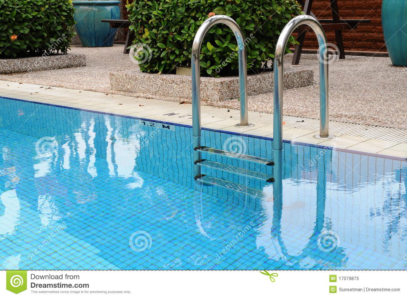 Swimming pool ladder handrail stock photo cartoondealer for Swimming pool dealers