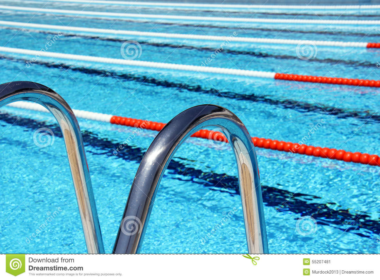 swimming pool lane ropes and ladder stock image
