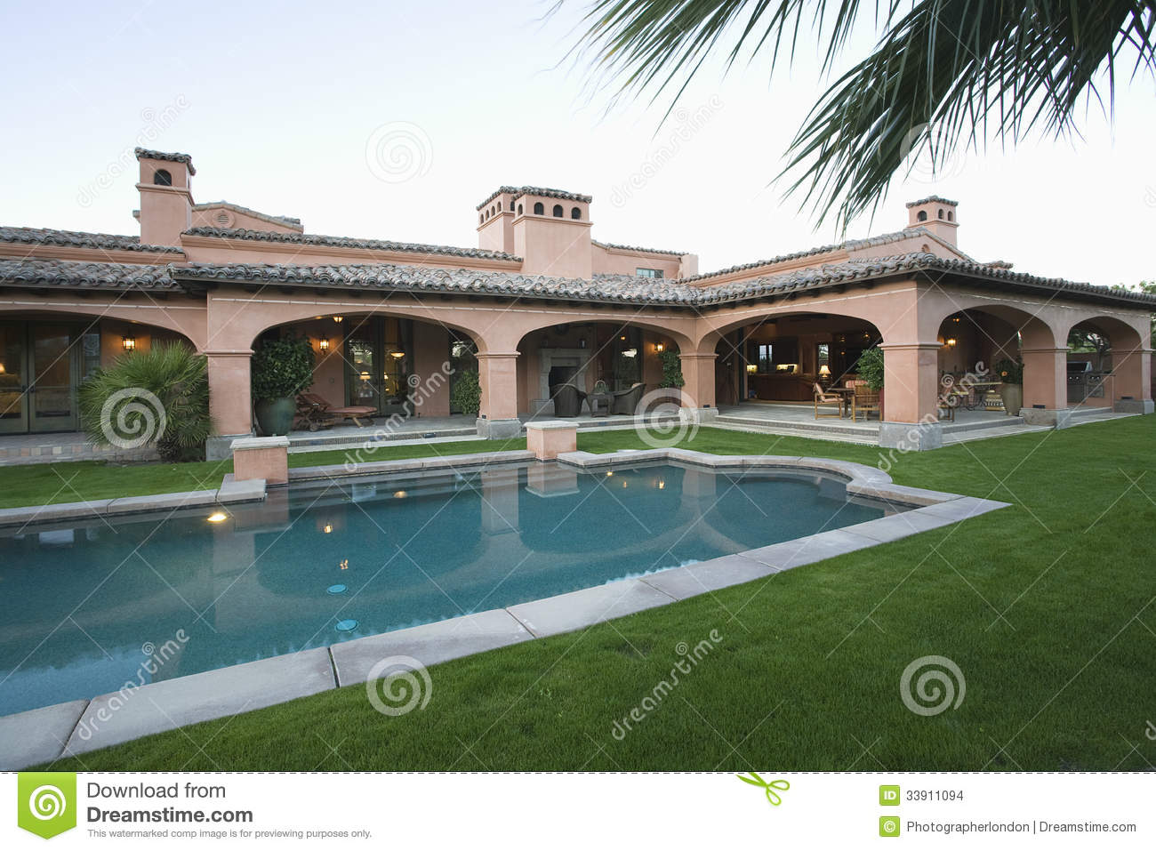 Swimming Pool And Lawn Against House Stock Images Image