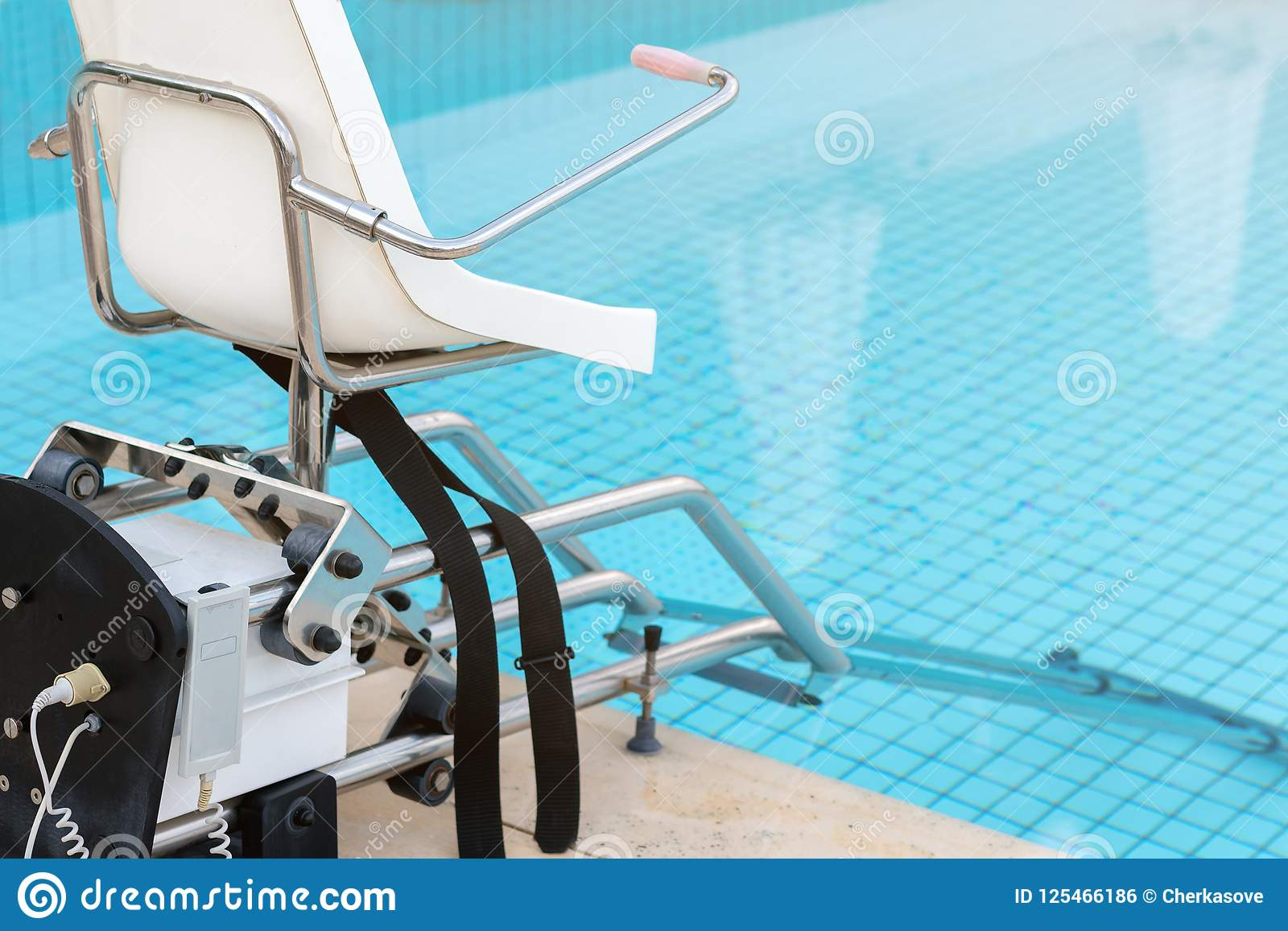 Swimming Pool Lifts For Disabled People Access To The Pool Stock ...