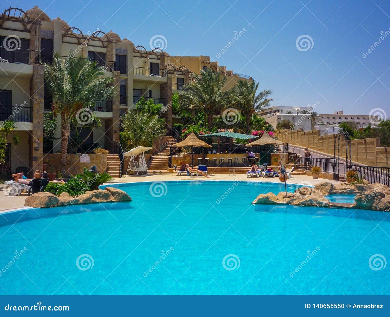 Swimming pool of luxury hotel in Egypet.Hurghada.July 2009