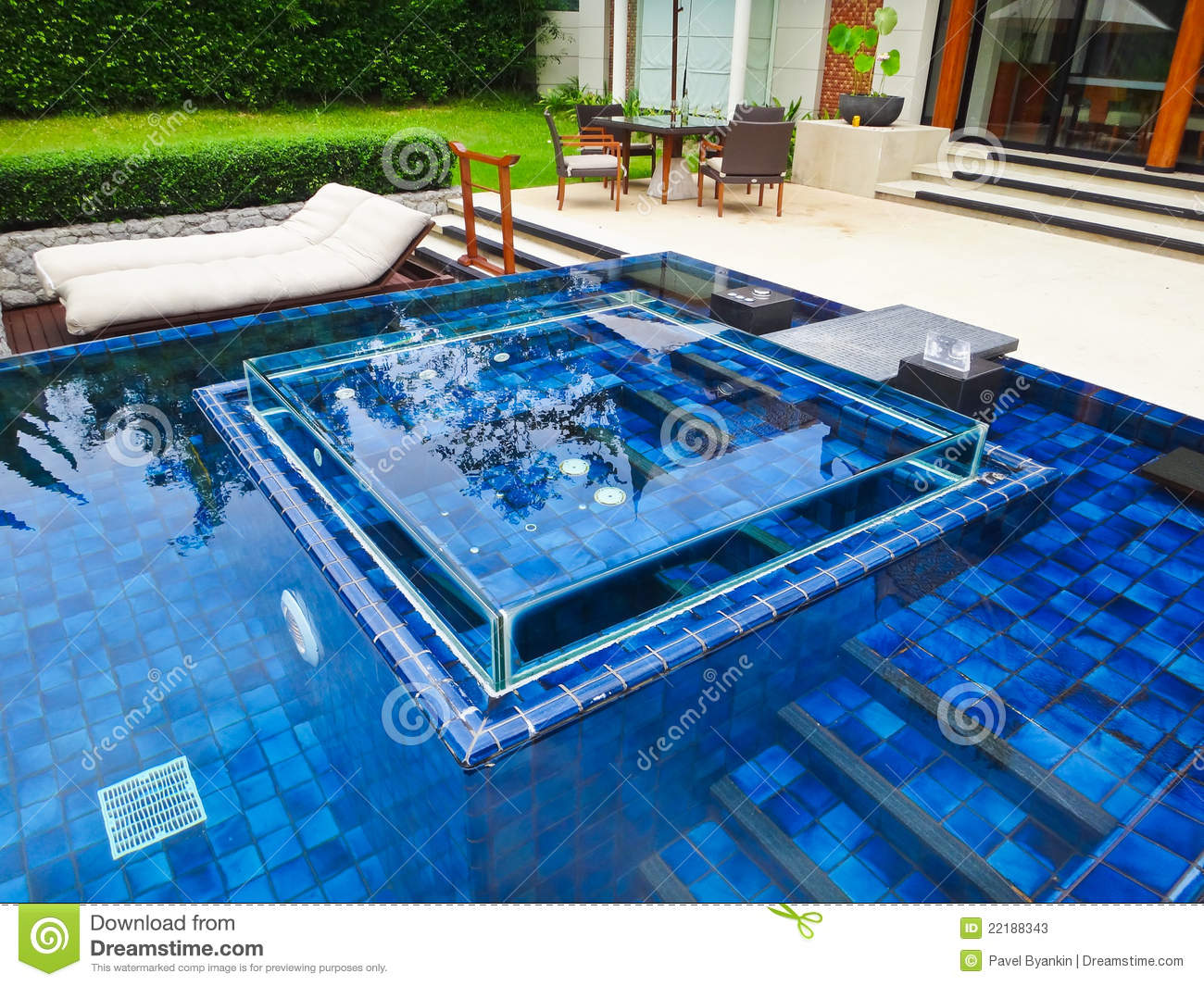 swimming pool at luxury traditional villa stock image. Black Bedroom Furniture Sets. Home Design Ideas