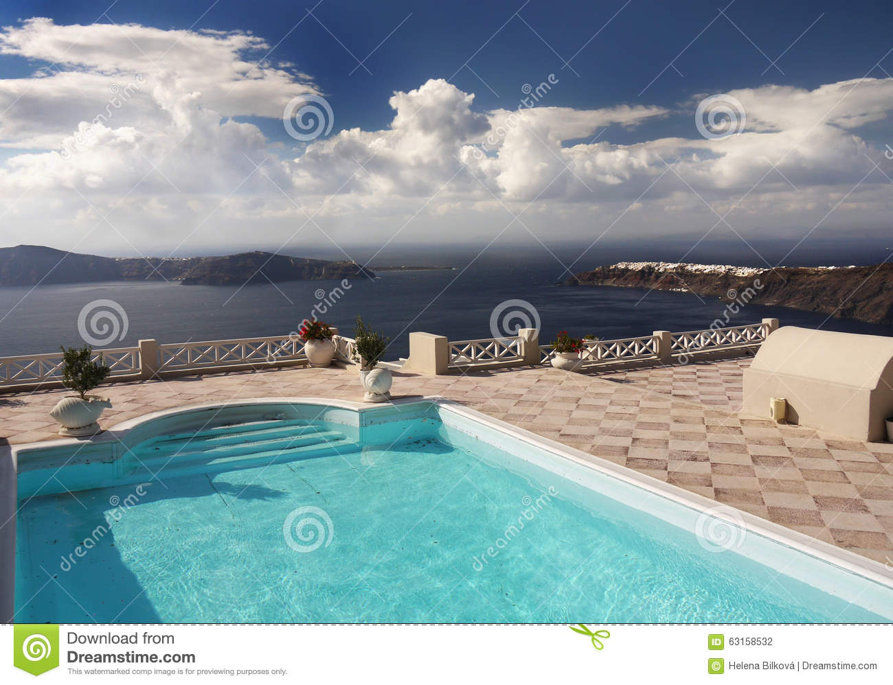 Pool On Top Of Building : Swimming pool of luxury villa stock photo image
