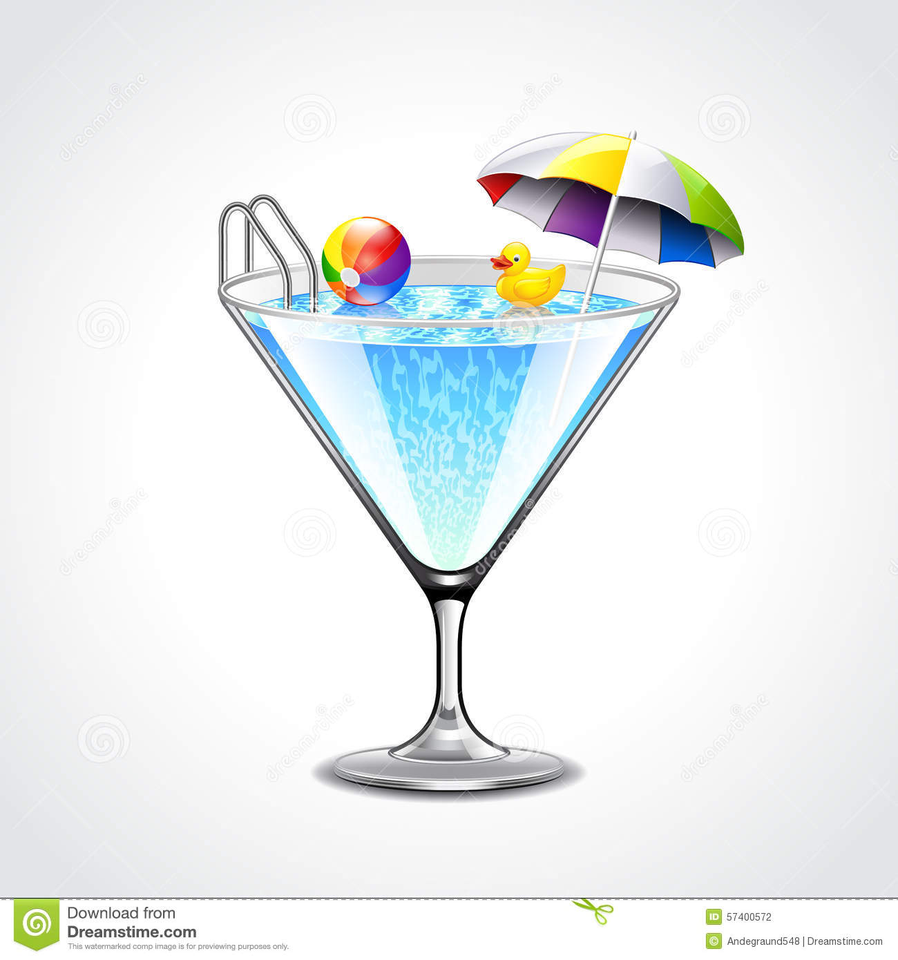 Swimming Pool In Martini Glass Vacation Concept Stock Vector Image 57400572