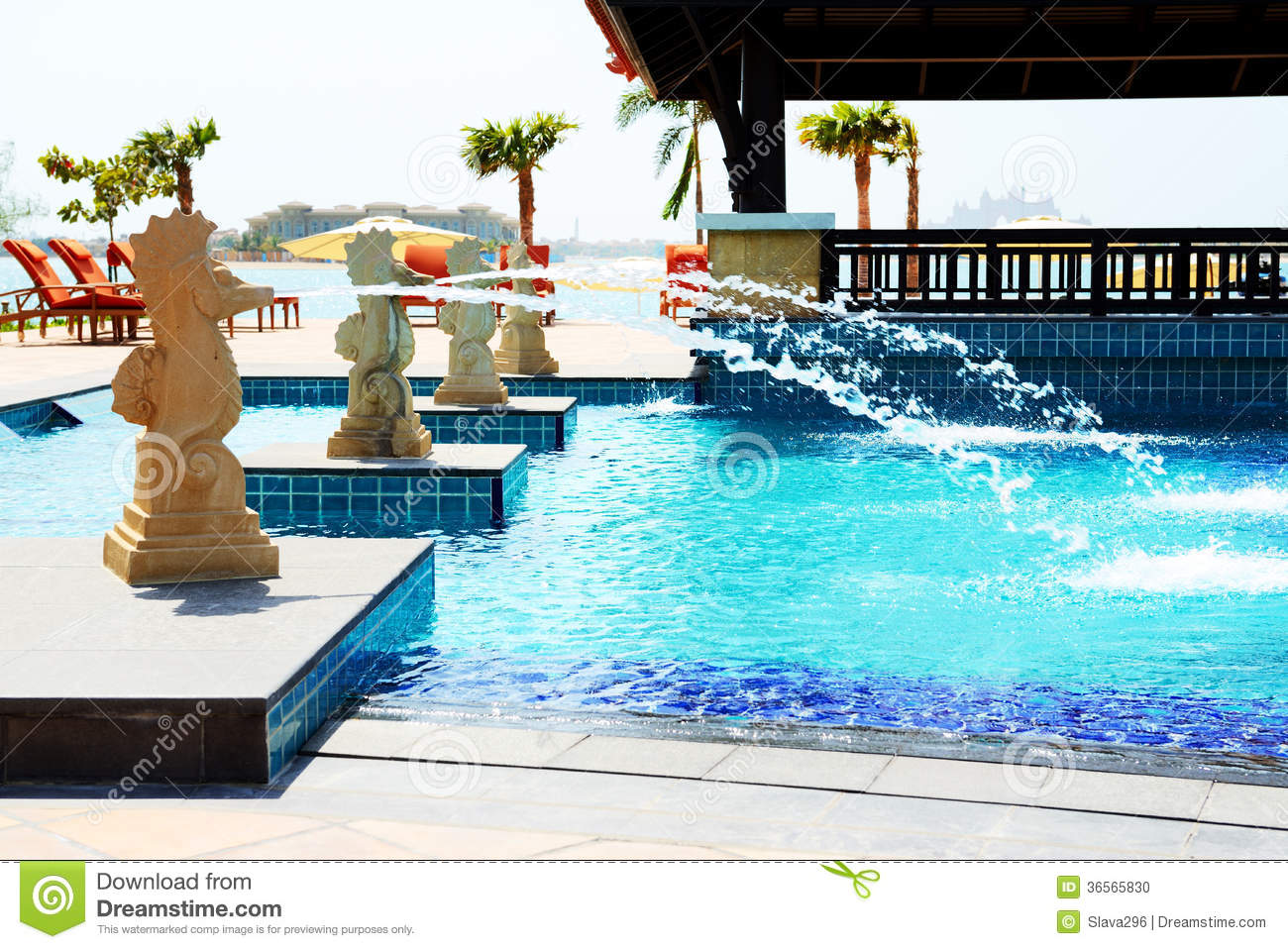The swimming pool near beach in thai style hotel on palm Swimming pool construction companies in uae