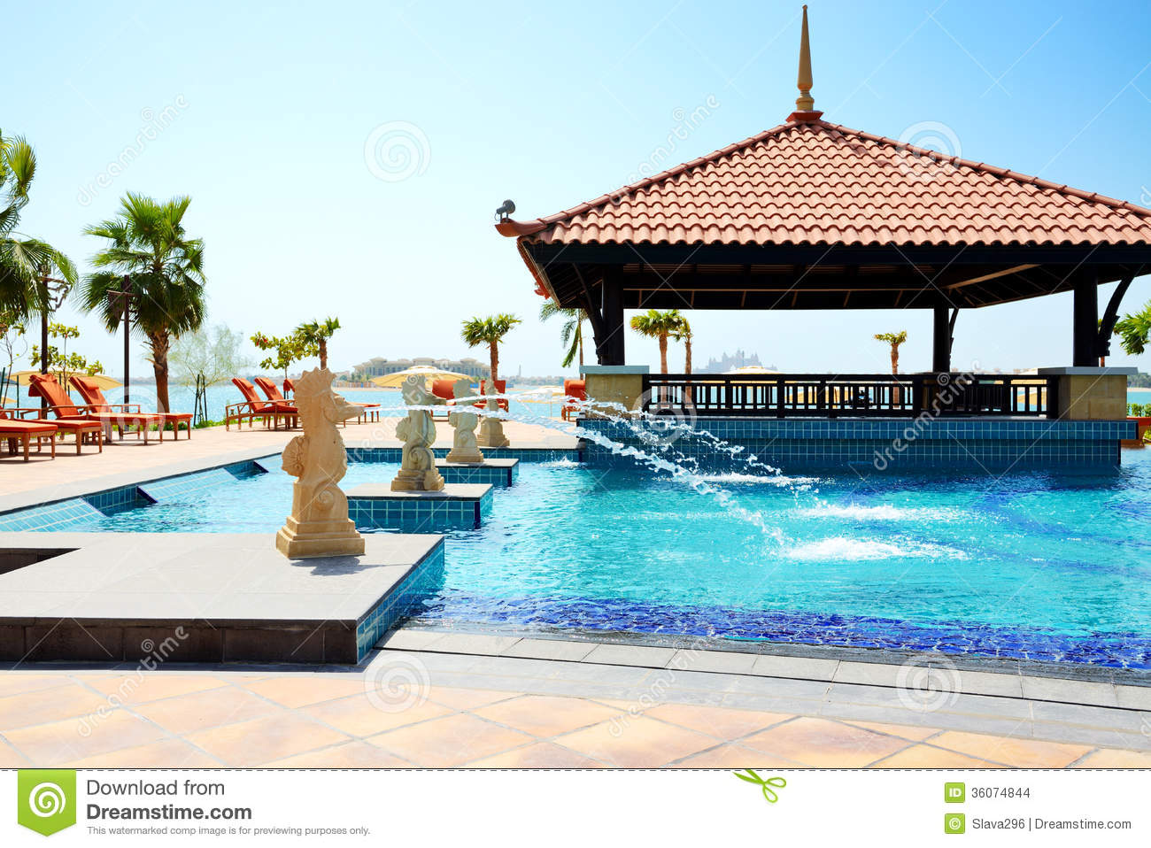 Swimming Pool Near Bar At The Modern Luxury Hotel Stock Photo 29054526