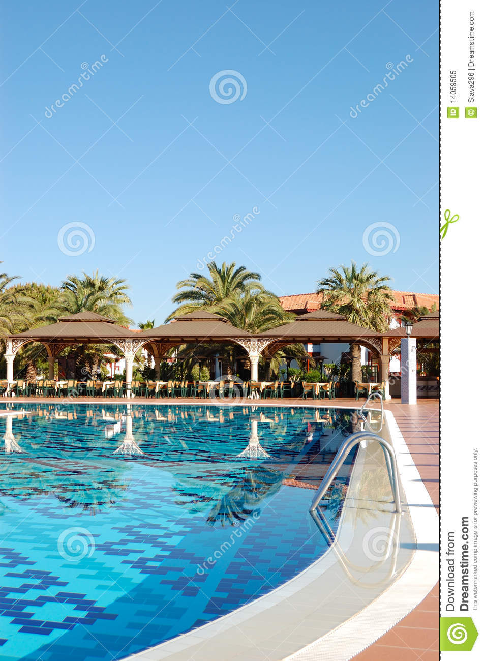 Swimming Pool Near Open Air Restaurant Royalty Free Stock Photography 14059505